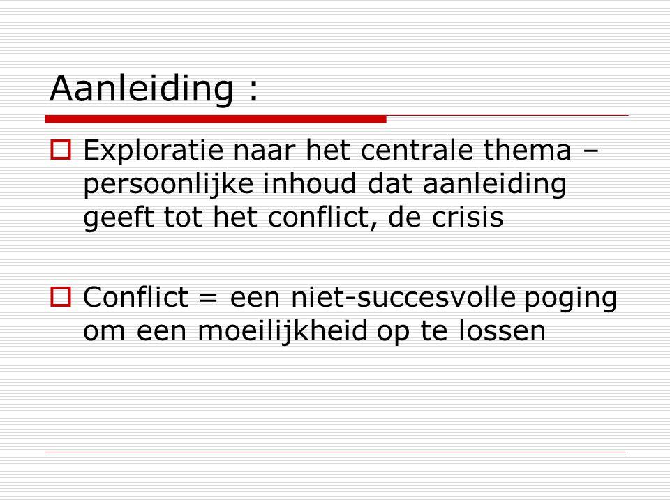 Aanleiding : Exploratie naar het centrale thema – persoonlijke inhoud dat aanleiding geeft tot het conflict, de crisis.