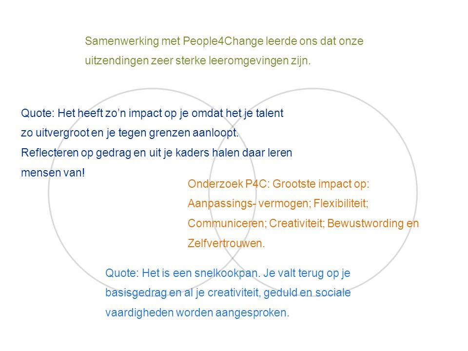 Samenwerking met People4Change leerde ons dat onze uitzendingen zeer sterke leeromgevingen zijn.