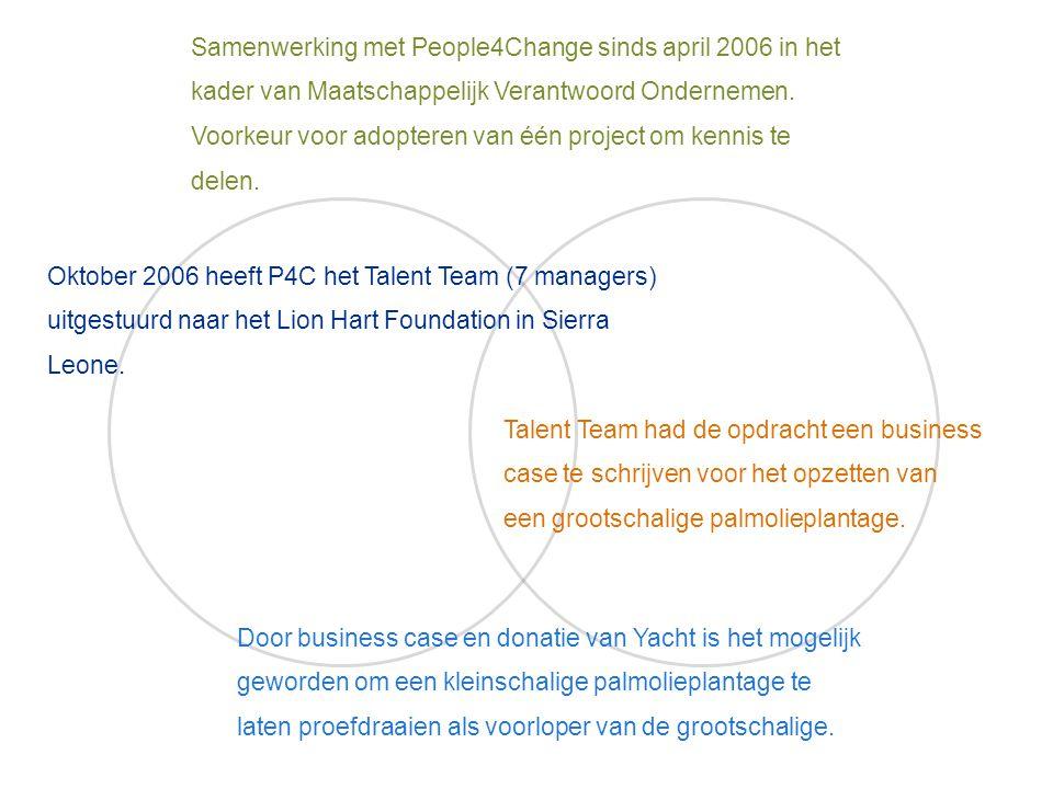 Samenwerking met People4Change sinds april 2006 in het kader van Maatschappelijk Verantwoord Ondernemen.