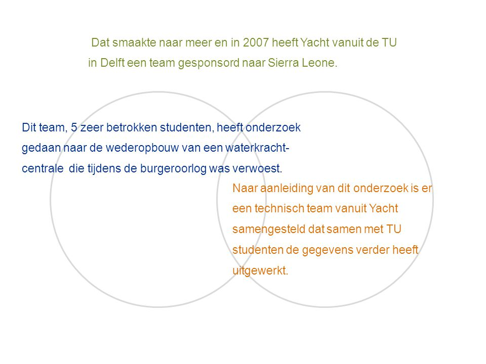 Dat smaakte naar meer en in 2007 heeft Yacht vanuit de TU in Delft een team gesponsord naar Sierra Leone.