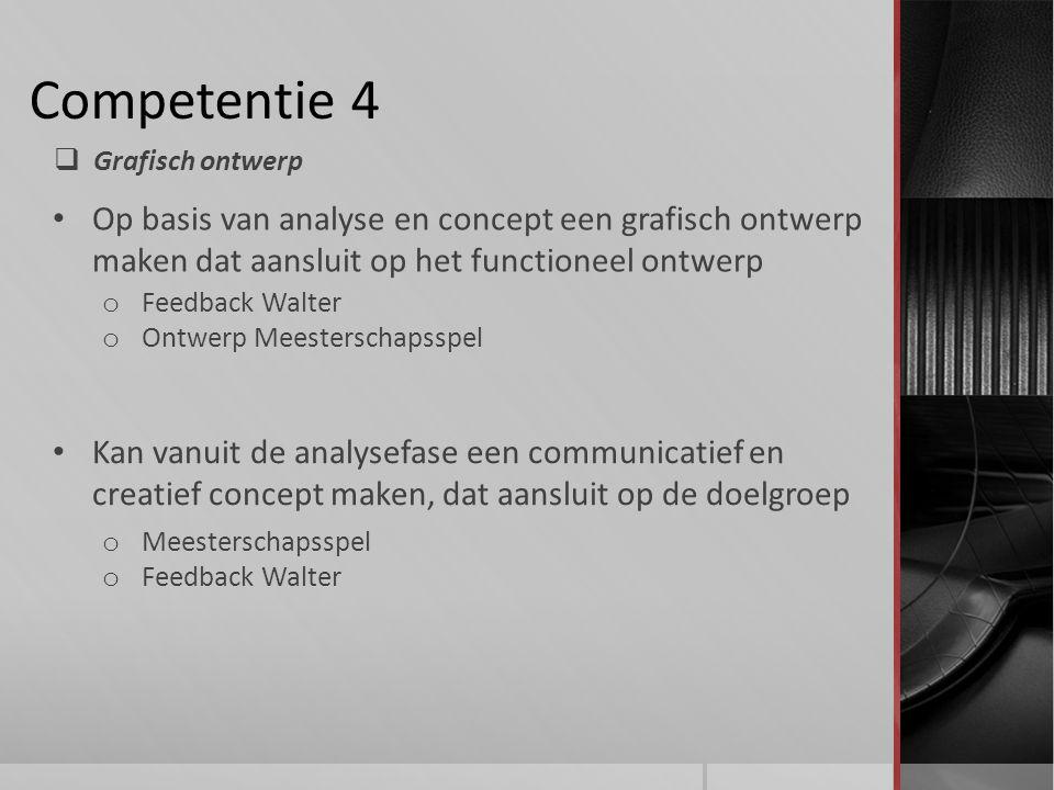 Competentie 4 Grafisch ontwerp. Op basis van analyse en concept een grafisch ontwerp maken dat aansluit op het functioneel ontwerp.