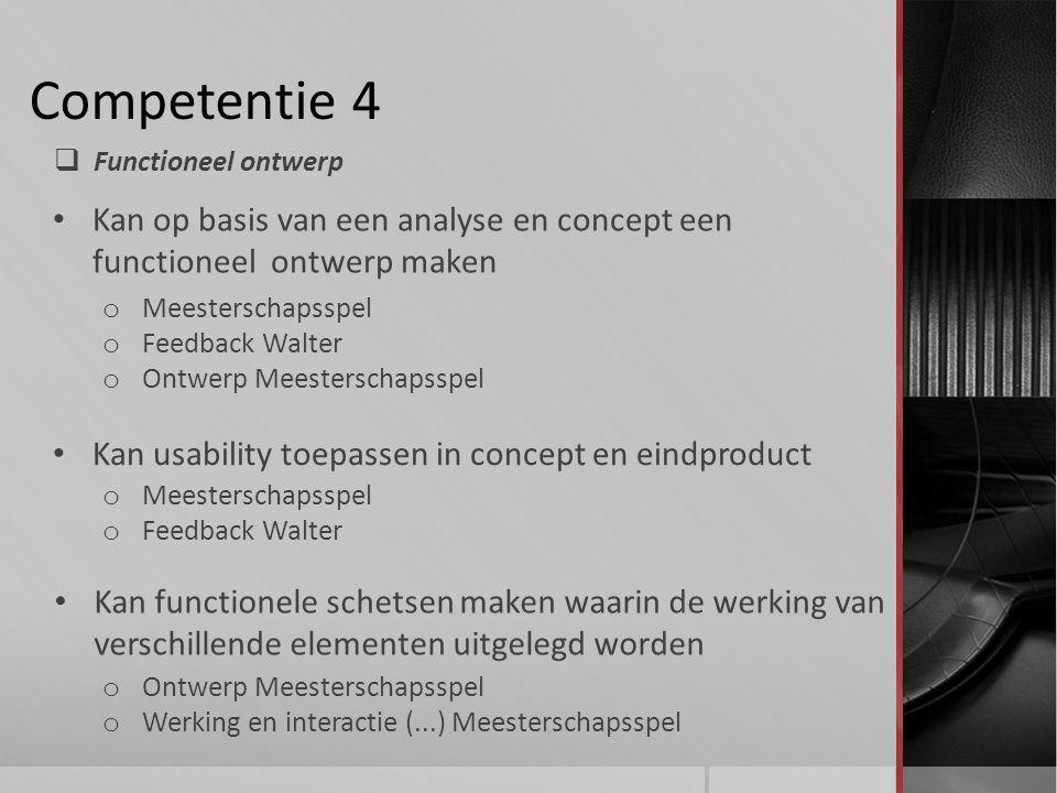 Competentie 4 Functioneel ontwerp. Kan op basis van een analyse en concept een functioneel ontwerp maken.