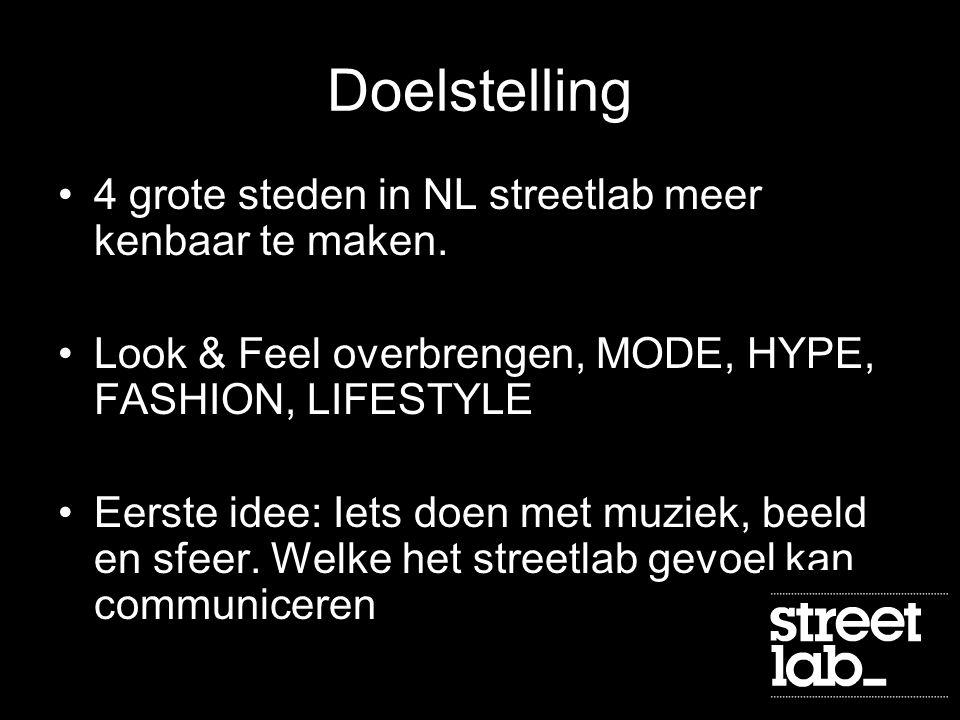 Doelstelling 4 grote steden in NL streetlab meer kenbaar te maken.