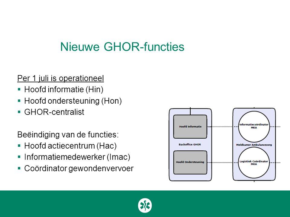 Nieuwe GHOR-functies Per 1 juli is operationeel Hoofd informatie (Hin)