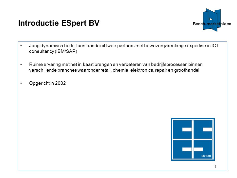 Bench-marketplace Introductie ESpert BV.