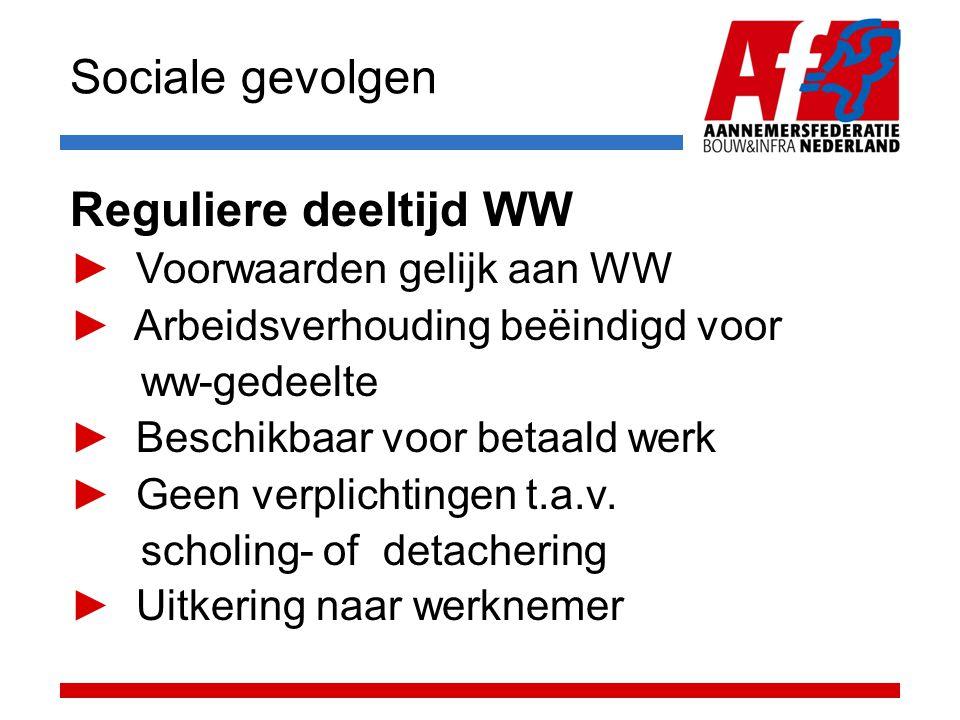 Sociale gevolgen Reguliere deeltijd WW ► Voorwaarden gelijk aan WW