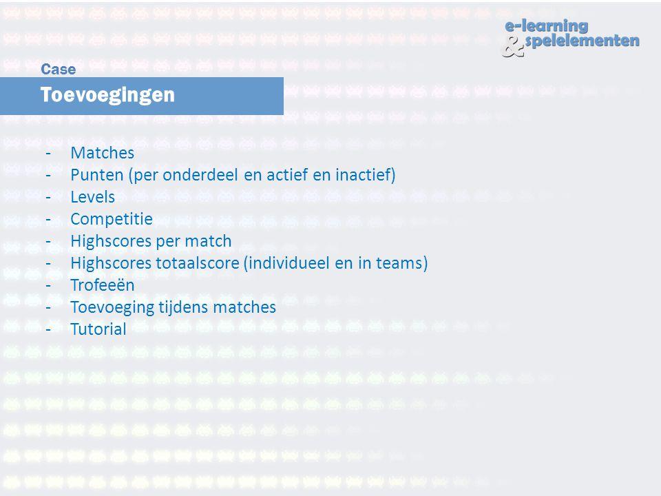 Toevoegingen Matches Punten (per onderdeel en actief en inactief)