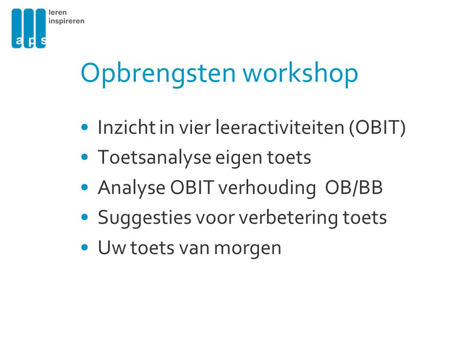 Opbrengsten workshop Inzicht in vier leeractiviteiten (OBIT)