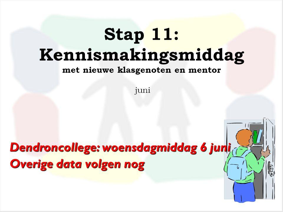 Stap 11: Kennismakingsmiddag met nieuwe klasgenoten en mentor juni