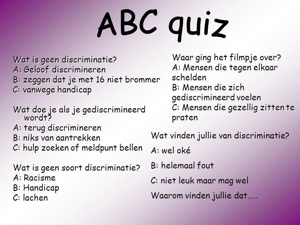 ABC quiz Waar ging het filmpje over Wat is geen discriminatie