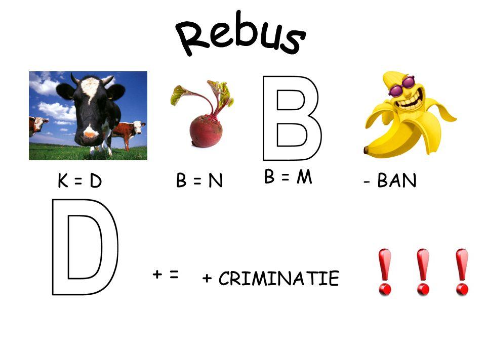 Rebus B = M K = D B = N - BAN + = + CRIMINATIE