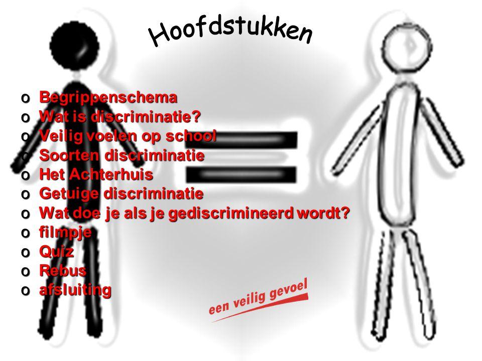 Hoofdstukken Begrippenschema Wat is discriminatie