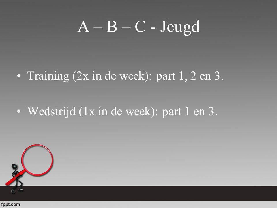 A – B – C - Jeugd Training (2x in de week): part 1, 2 en 3.