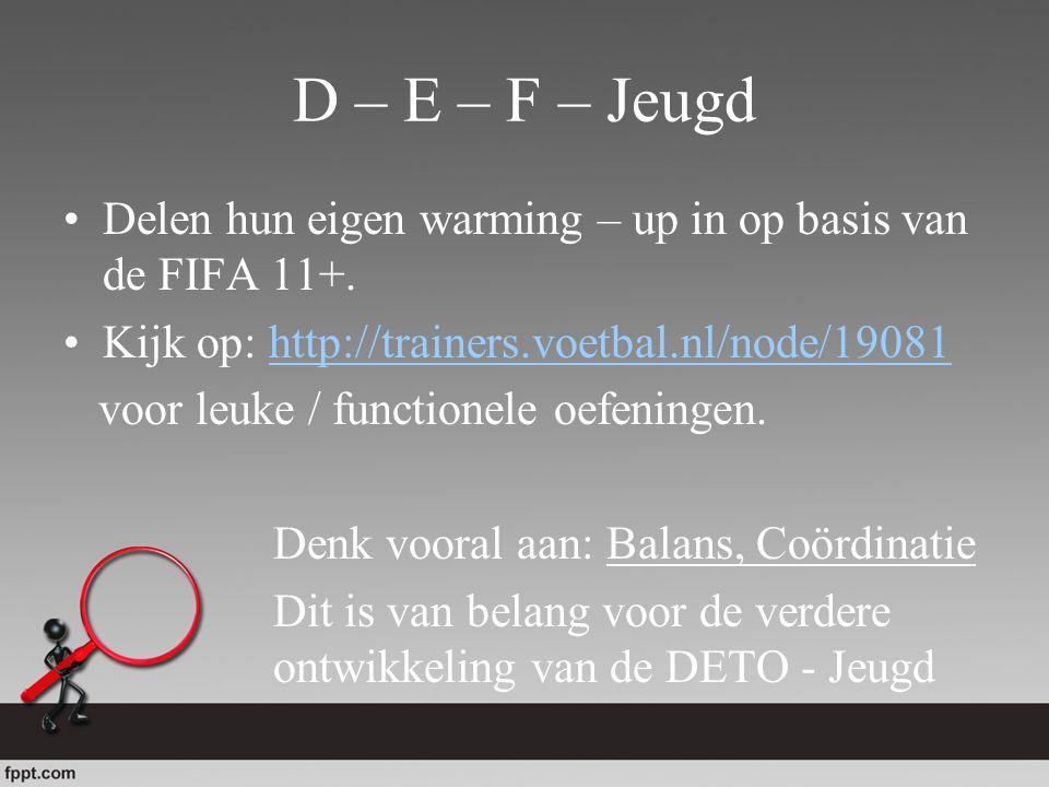 D – E – F – Jeugd Delen hun eigen warming – up in op basis van de FIFA 11+. Kijk op: http://trainers.voetbal.nl/node/19081.
