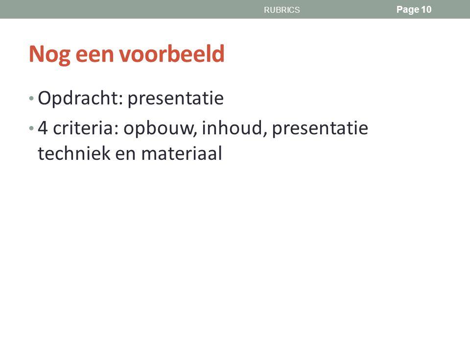 Nog een voorbeeld Opdracht: presentatie