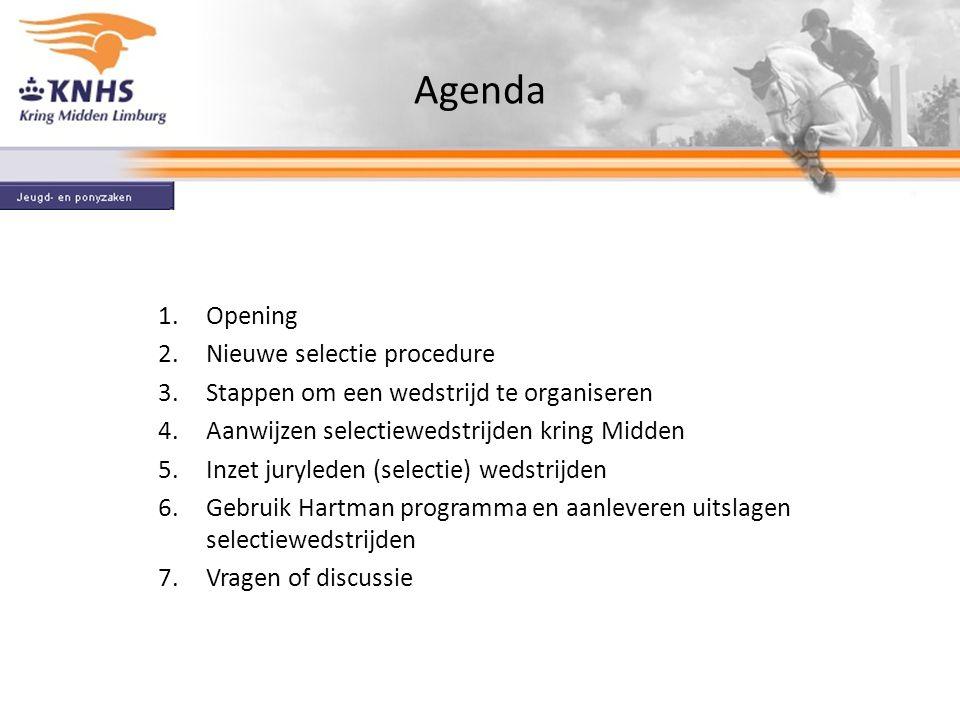 Agenda Opening Nieuwe selectie procedure