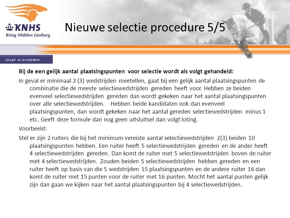 Nieuwe selectie procedure 5/5