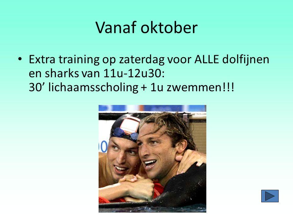 Vanaf oktober Extra training op zaterdag voor ALLE dolfijnen en sharks van 11u-12u30: 30' lichaamsscholing + 1u zwemmen!!!
