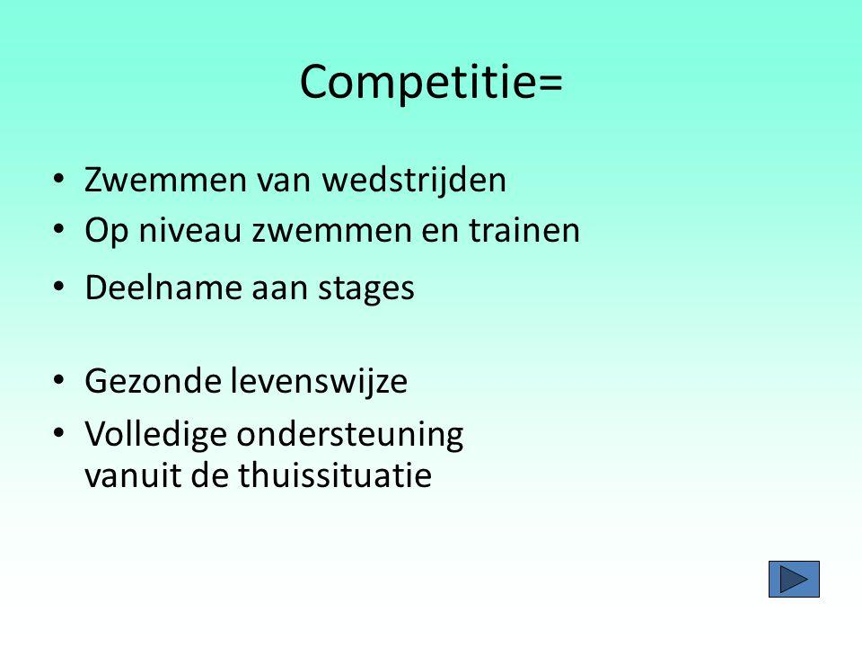 Competitie= Zwemmen van wedstrijden Op niveau zwemmen en trainen