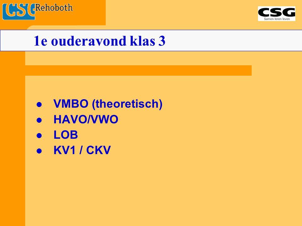 1e ouderavond klas 3 VMBO (theoretisch) HAVO/VWO LOB KV1 / CKV