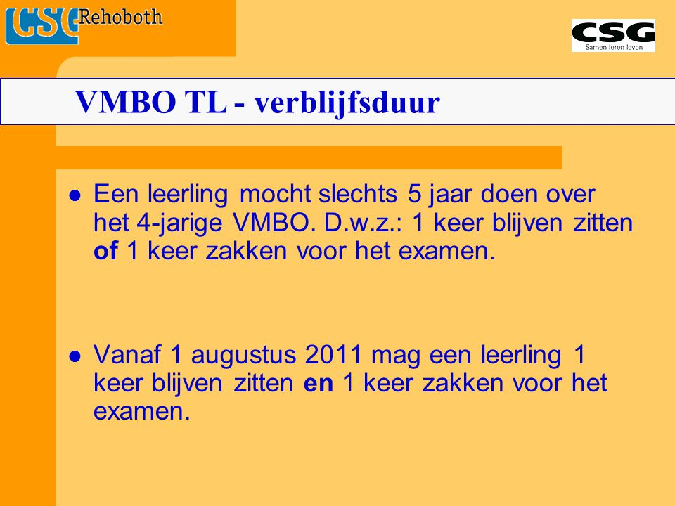VMBO TL - verblijfsduur