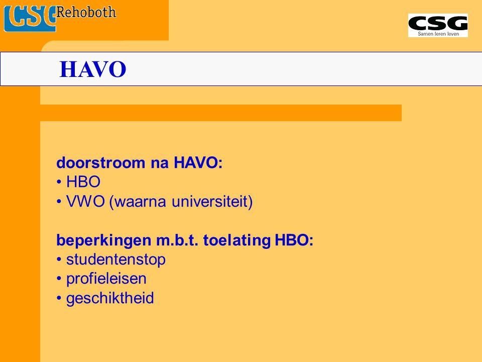HAVO doorstroom na HAVO: • HBO • VWO (waarna universiteit)