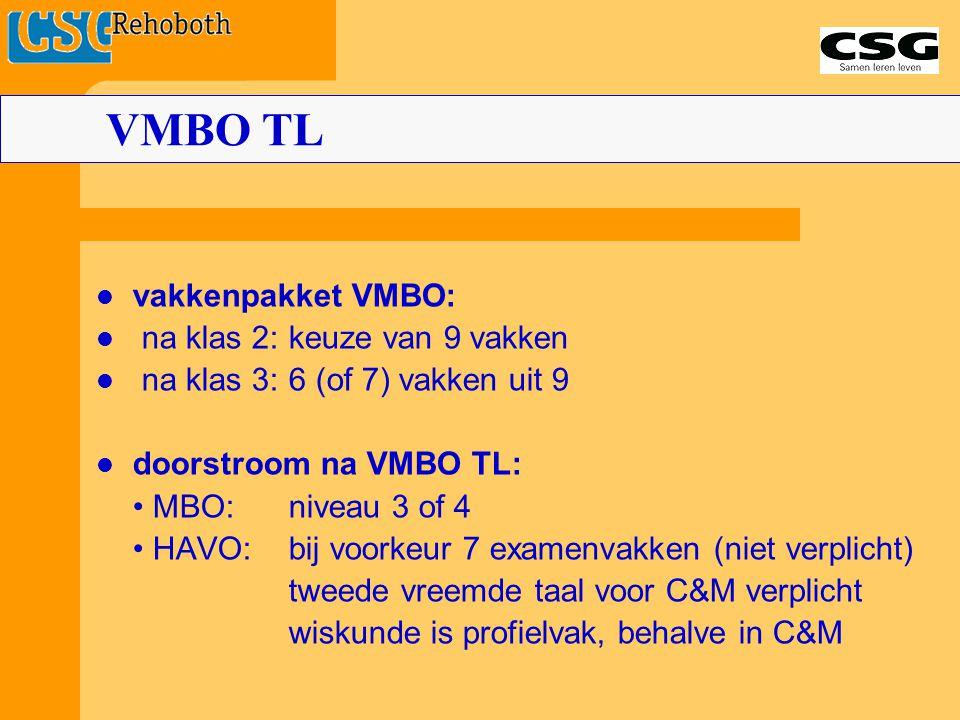 VMBO TL vakkenpakket VMBO: na klas 2: keuze van 9 vakken