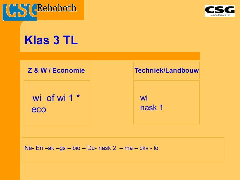 Klas 3 TL eco wi of wi 1 * wi nask 1 Z & W / Economie