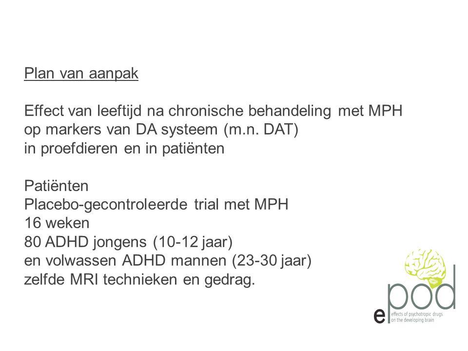 Plan van aanpak Effect van leeftijd na chronische behandeling met MPH. op markers van DA systeem (m.n. DAT)