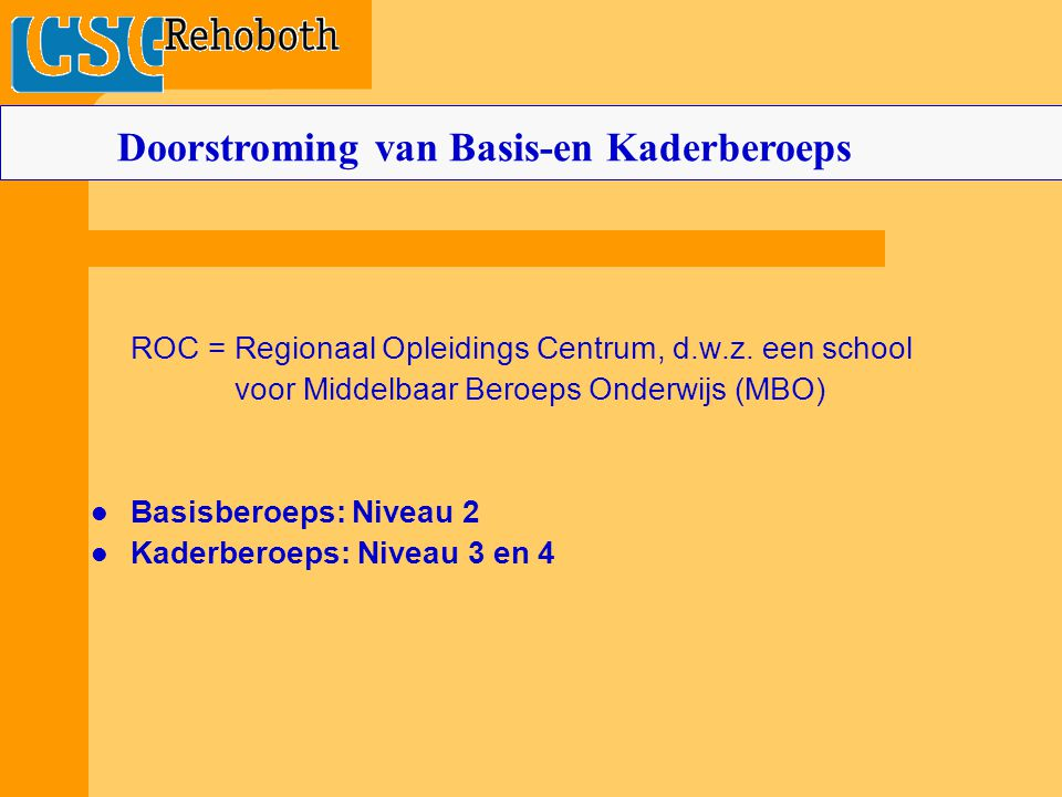 Doorstroming van Basis-en Kaderberoeps
