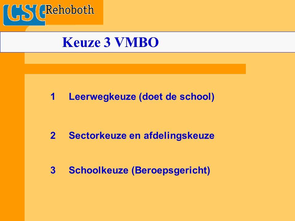 Keuze 3 VMBO 1 Leerwegkeuze (doet de school)