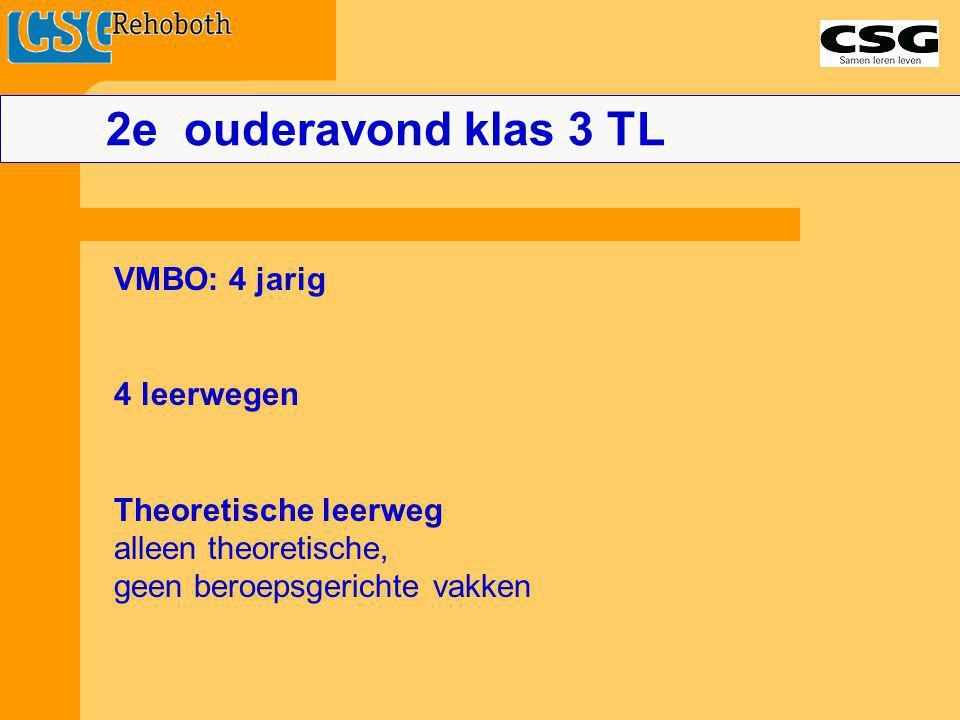 2e ouderavond klas 3 TL VMBO: 4 jarig 4 leerwegen Theoretische leerweg
