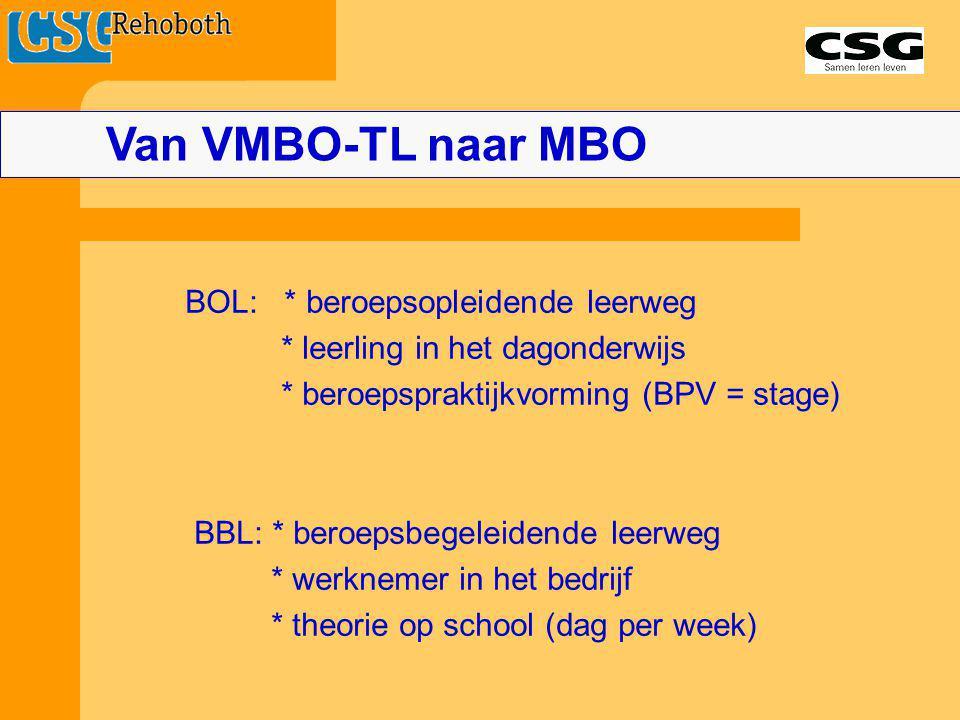 Van VMBO-TL naar MBO BOL: * beroepsopleidende leerweg