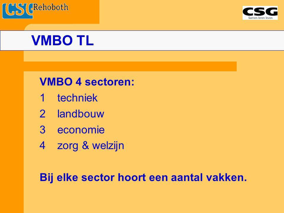 VMBO TL 1 techniek 2 landbouw 3 economie 4 zorg & welzijn