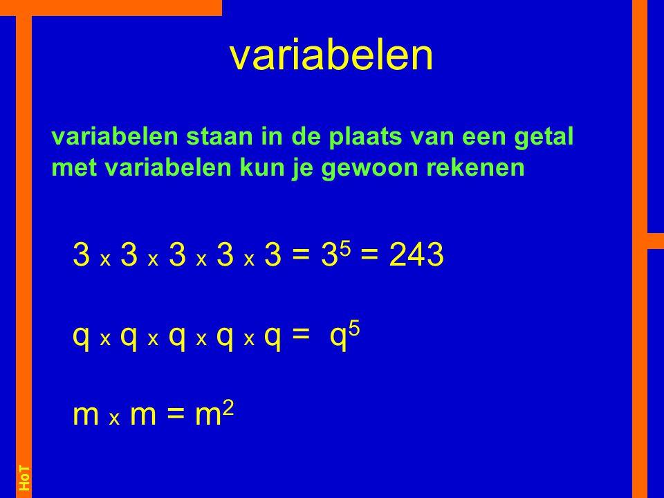 variabelen variabelen staan in de plaats van een getal met variabelen kun je gewoon rekenen.