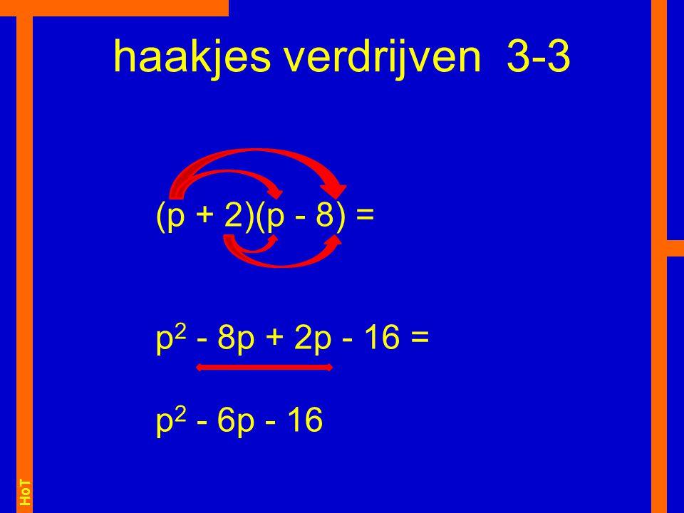 haakjes verdrijven 3-3 (p + 2)(p - 8) = p2 - 8p + 2p - 16 =