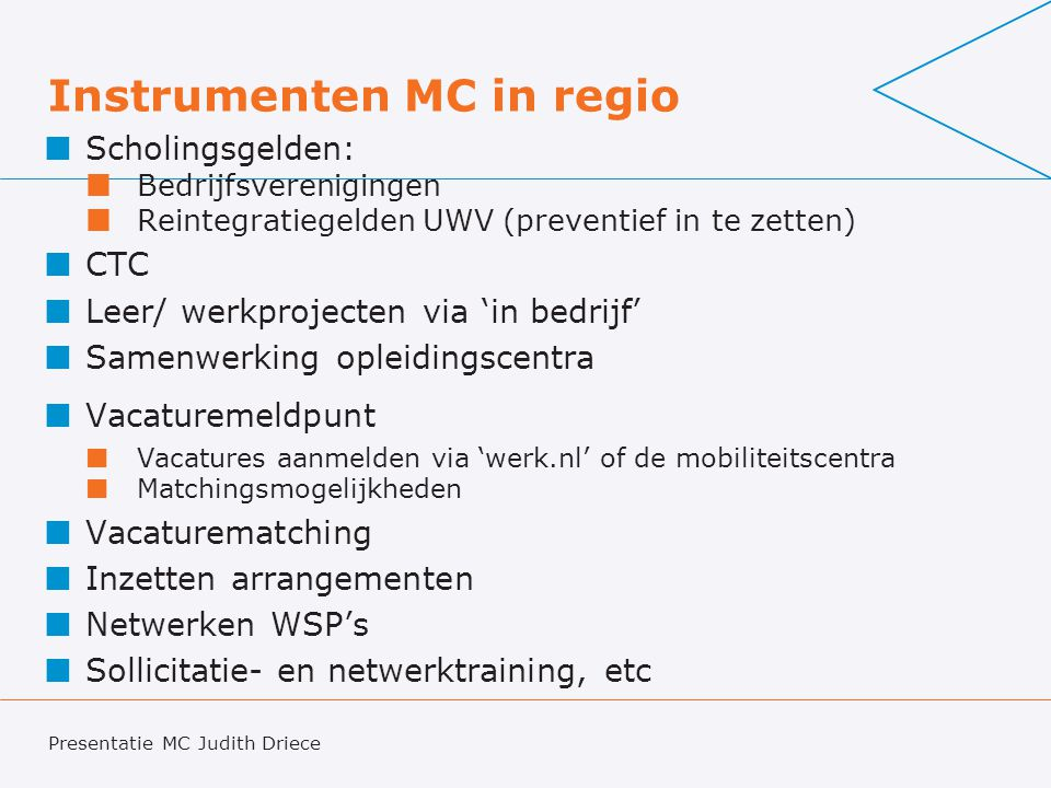 Instrumenten MC in regio