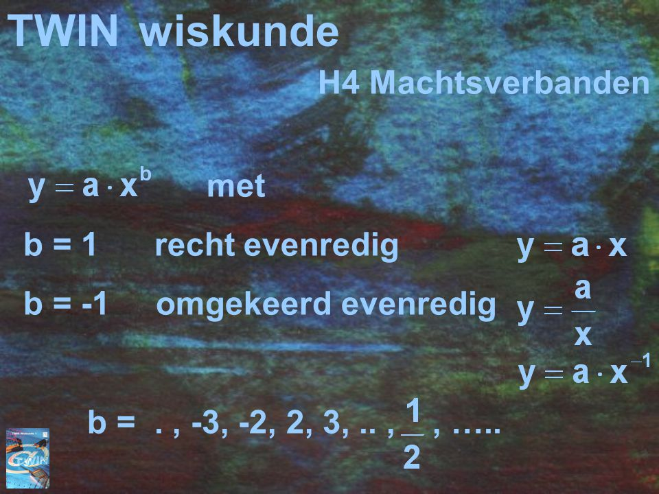 TWIN wiskunde H4 Machtsverbanden met b = 1 recht evenredig