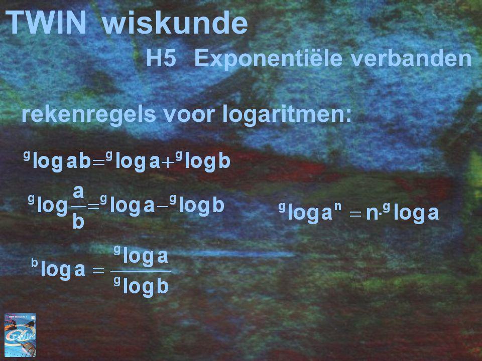 TWIN wiskunde H5 Exponentiële verbanden rekenregels voor logaritmen: