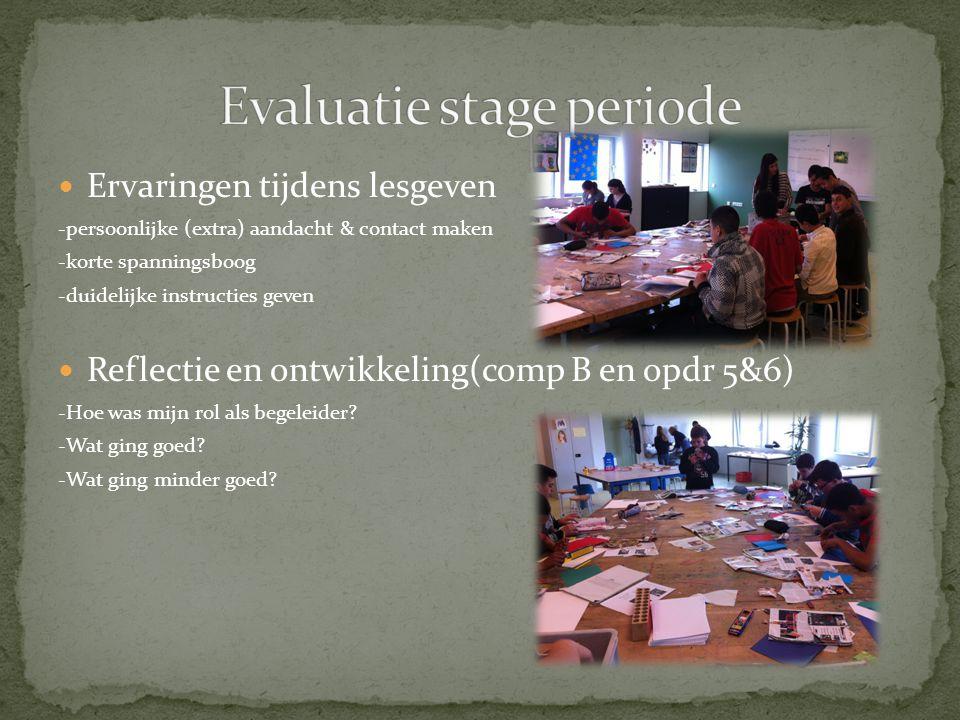 Evaluatie stage periode