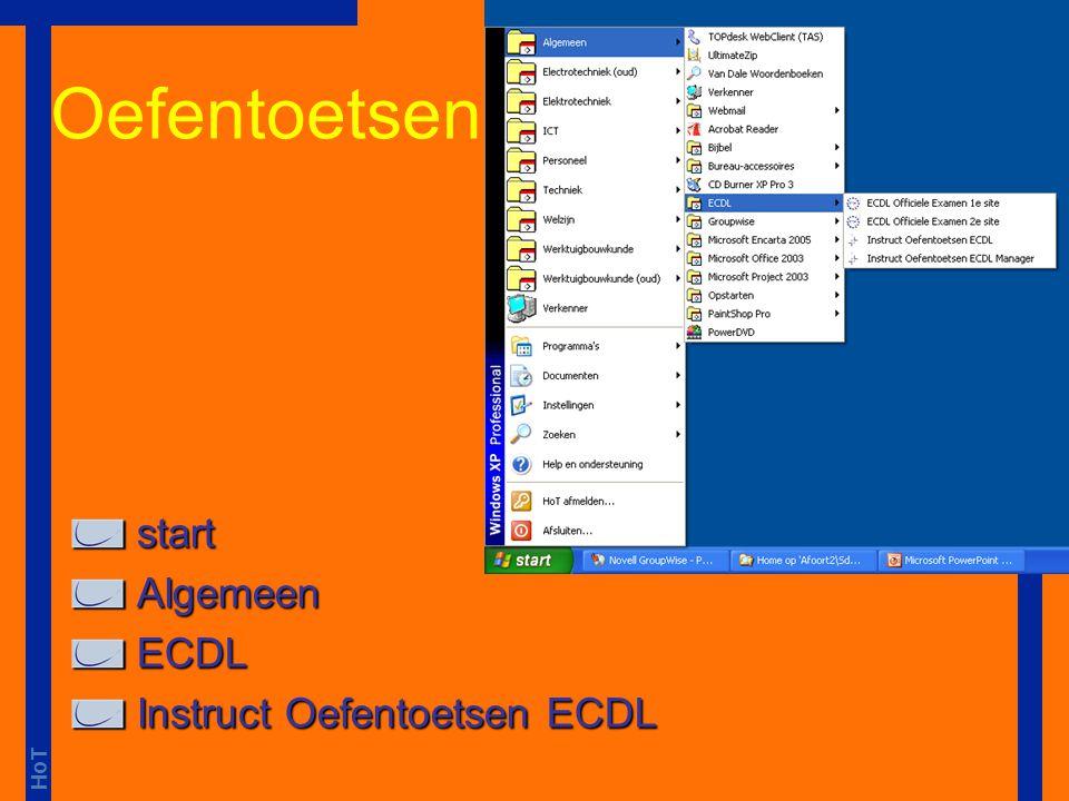 Oefentoetsen start Algemeen ECDL Instruct Oefentoetsen ECDL