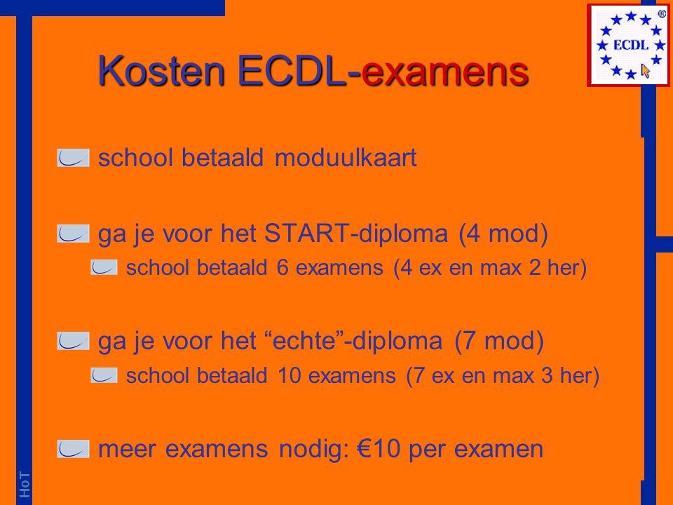Kosten ECDL-examens school betaald moduulkaart