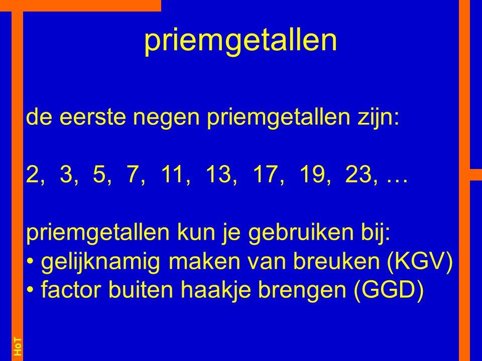 priemgetallen de eerste negen priemgetallen zijn: