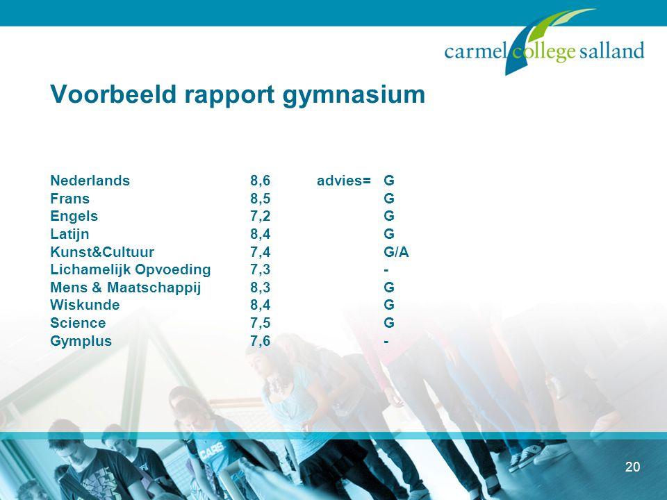 Voorbeeld rapport gymnasium Nederlands. 8,6. advies=. G Frans. 8,5