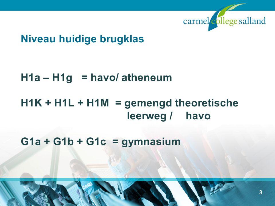 Niveau huidige brugklas H1a – H1g = havo/ atheneum H1K + H1L + H1M = gemengd theoretische leerweg / havo G1a + G1b + G1c = gymnasium
