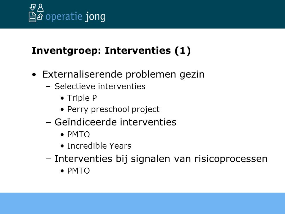 Inventgroep: Interventies (1)