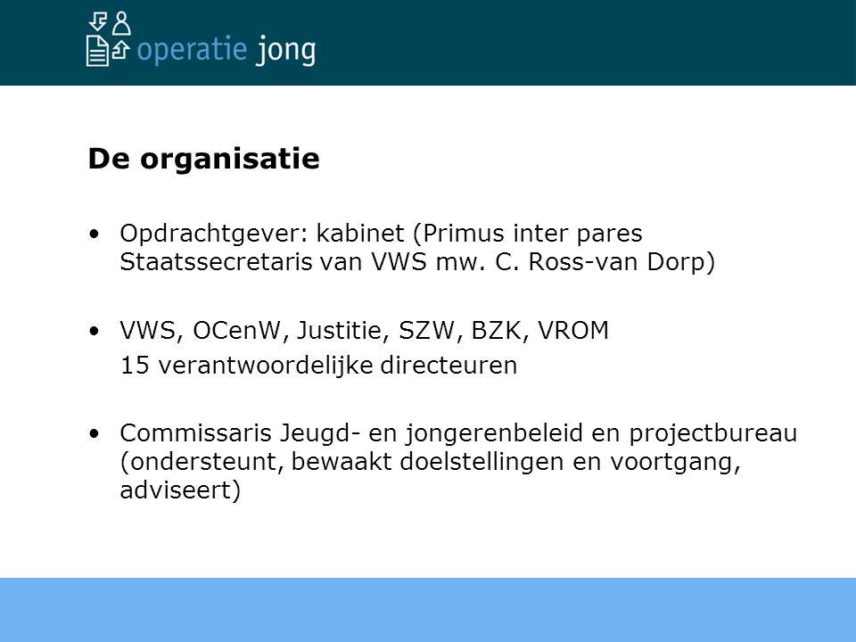 De organisatie Opdrachtgever: kabinet (Primus inter pares Staatssecretaris van VWS mw. C. Ross-van Dorp)