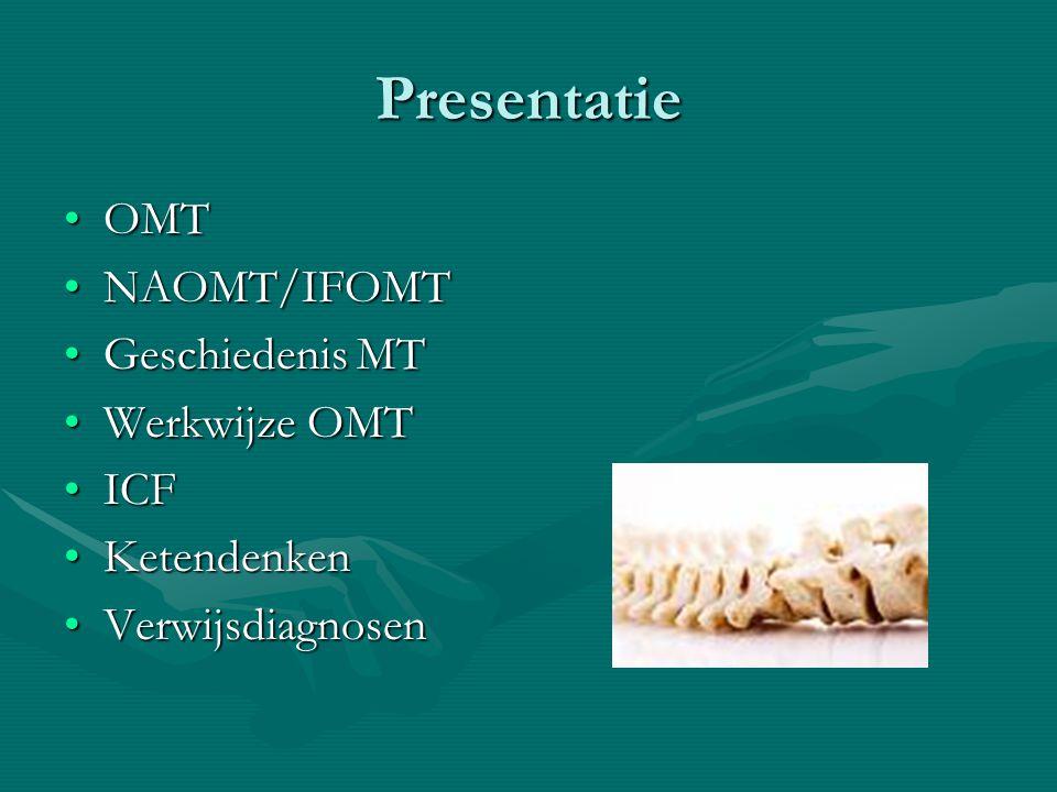 Presentatie OMT NAOMT/IFOMT Geschiedenis MT Werkwijze OMT ICF
