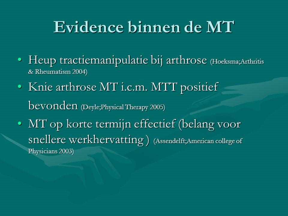 Evidence binnen de MT Heup tractiemanipulatie bij arthrose (Hoeksma;Arthritis & Rheumatism 2004) Knie arthrose MT i.c.m. MTT positief.