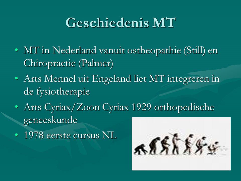 Geschiedenis MT MT in Nederland vanuit ostheopathie (Still) en Chiropractie (Palmer) Arts Mennel uit Engeland liet MT integreren in de fysiotherapie.